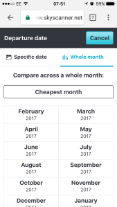 Compare across a whole month to find cheap flights