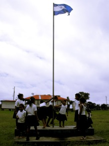 Dancing around the school flagpole in La Barra