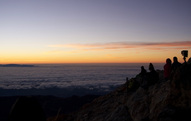 Waiting for sunrise on Mount Teide