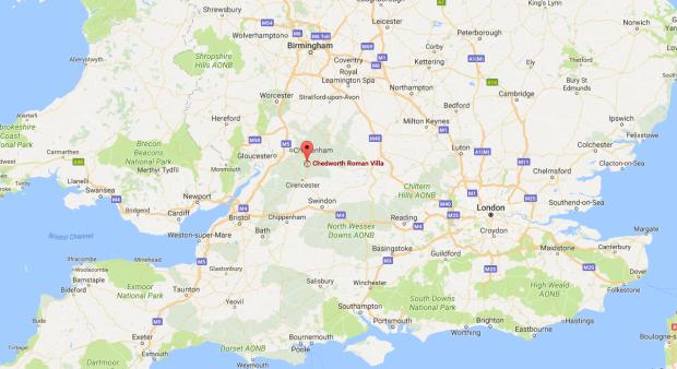 Where is Chedworth Roman Villa map - near Cheltenham in Gloucestershire