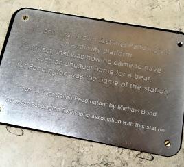 Inscription on the Paddington Bear statue on Platform 1