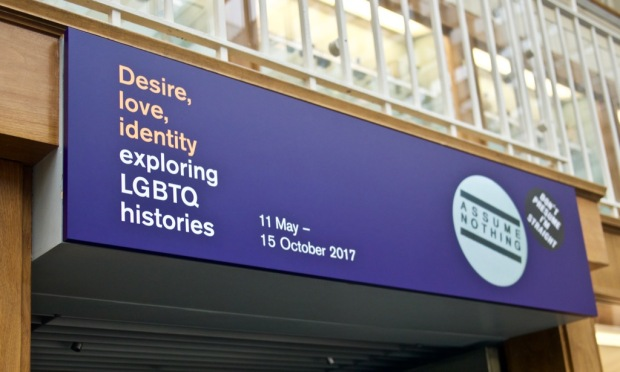 Entrance to the Desire love identity exploring LGBTQ histories exhibit room at the British Museum