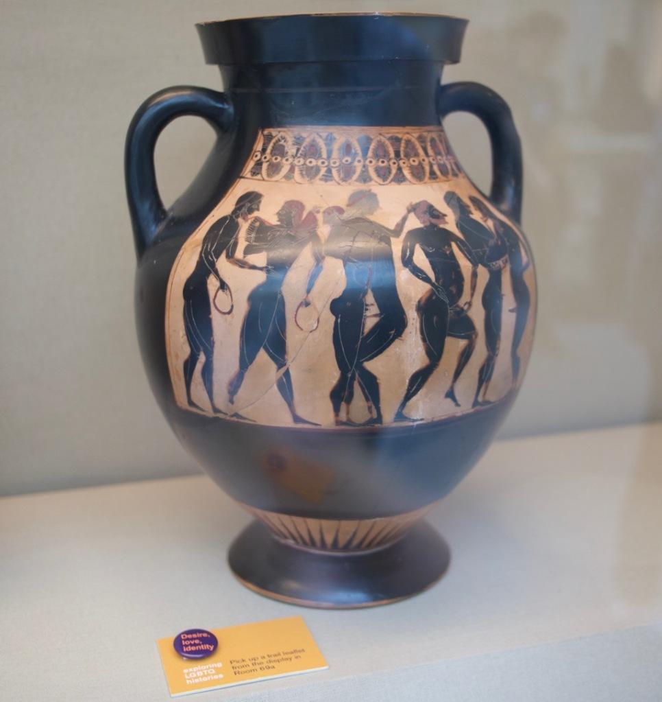 Ancient Greek amphora at the Desire love identity exhibit at the British Museum