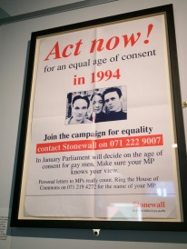 Age of consent campaign poster at the Gay UK exhibit at the British Library