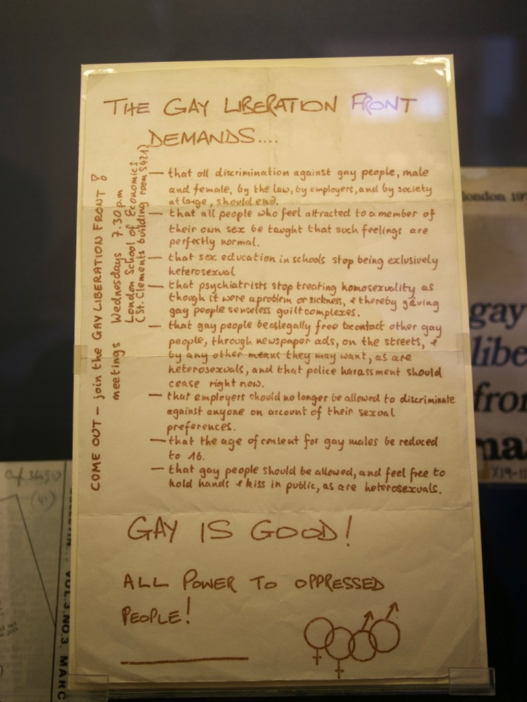 Gay Liberation Front's demands at the Gay UK exhibit in the British Library