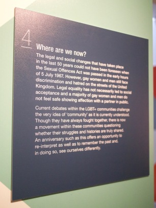 Information panel at the Gay UK exhibit at the British Library