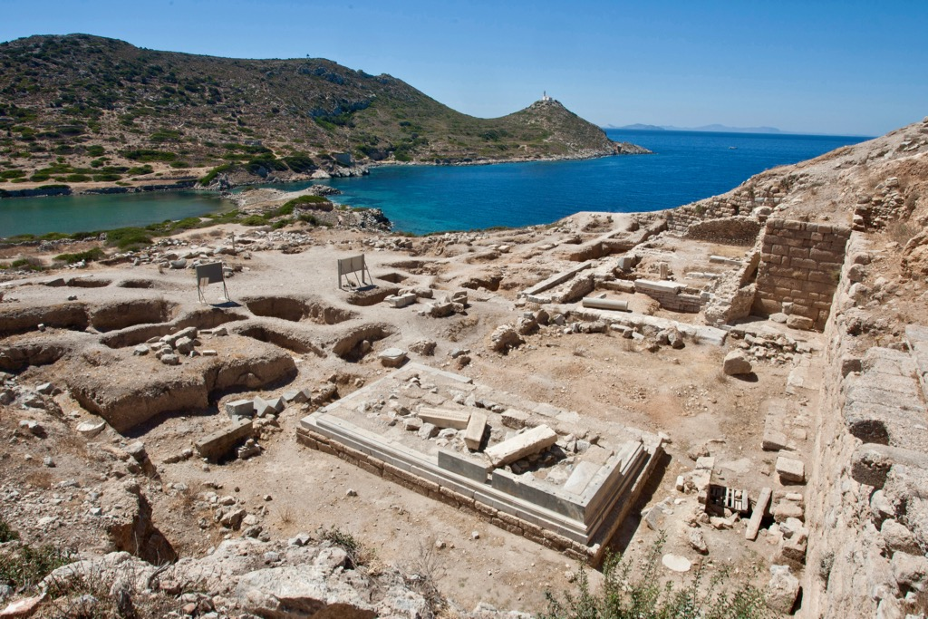 View over the Ancient Greek ruins and the sea at Knidos, Datça