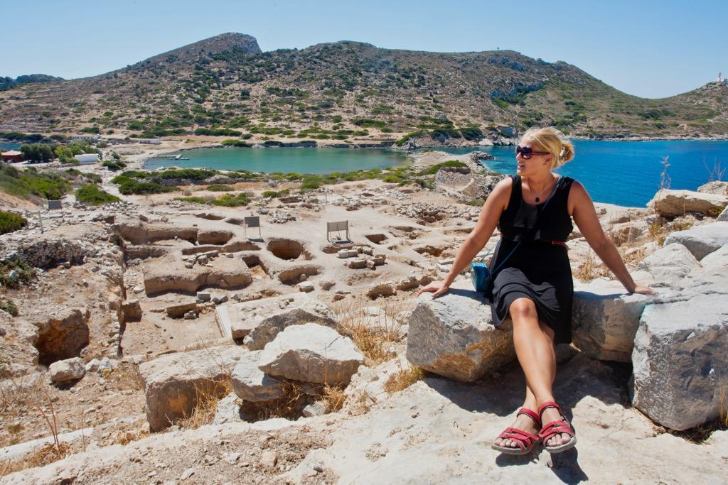 Naomi enjoying the sun and scenery at the Ancient Greek ruins at Knidos, Datça