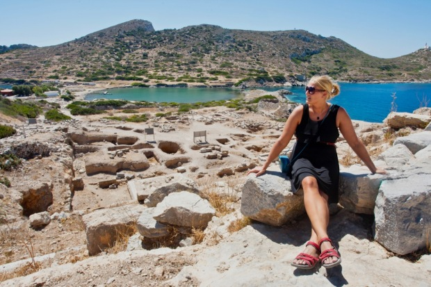 Naomi enjoying the sun and scenery at the Ancient Greek ruins at Knidos, Datça