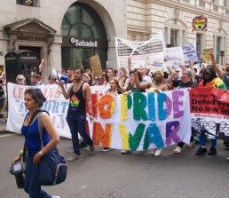 No Pride No War banner at Pride in London