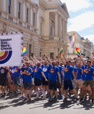 Gay men's chorus at Pride in London