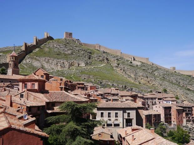 Landscape view of Albarracín village and the murralla